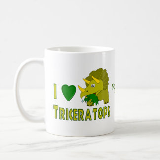 J'aime le dinosaure mignon de Triceratops (de Mug Blanc