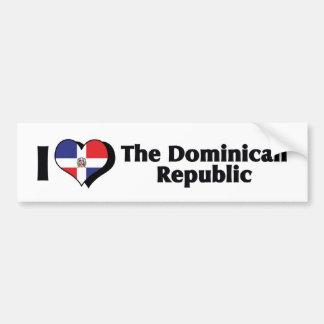 J'aime le drapeau de la République Dominicaine Autocollant Pour Voiture
