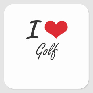 J'aime le golf sticker carré