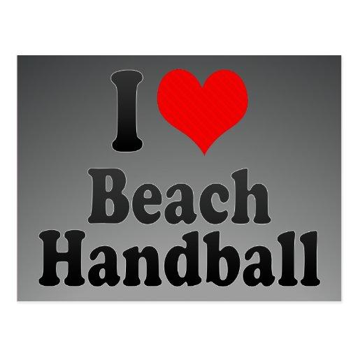 J'aime le handball de plage carte postale