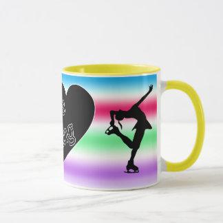 J'aime le patinage artistique, coeur, tasse