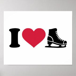 J'aime le patinage artistique de vitesse de patin posters