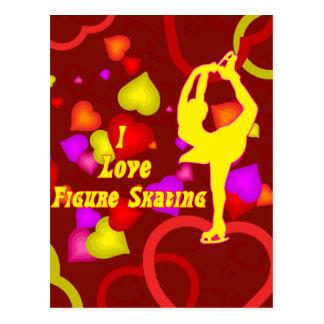 J'aime le patinage artistique rétro carte postale
