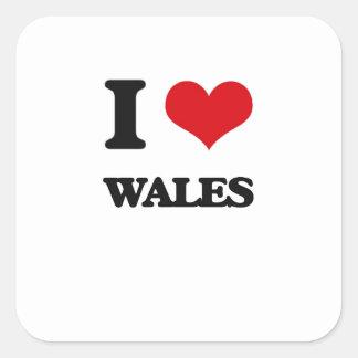 J'aime le Pays de Galles Sticker Carré