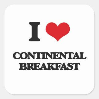 J'aime le petit déjeuner continental autocollant carré