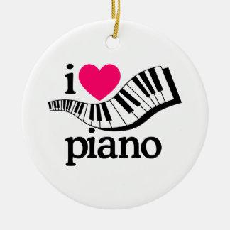 J'aime le piano/clavier ornement rond en céramique