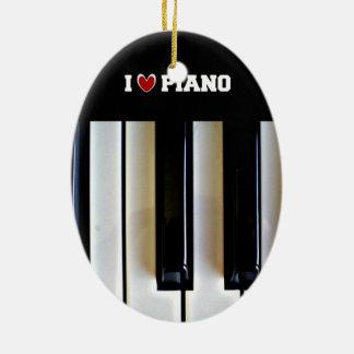 J'aime le piano ornement ovale en céramique