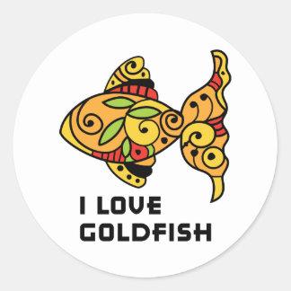 J'aime le poisson rouge autocollant rond