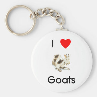 J'aime le porte - clé de chèvres porte-clé rond
