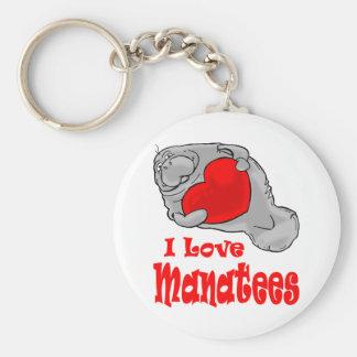 J'aime le porte - clé de lamantins porte-clé rond