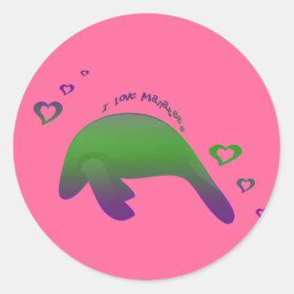J'aime le pourpre vert de lamantins sticker rond