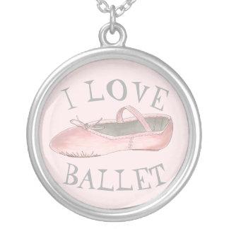 J'aime le professeur de danse de pantoufle de rose pendentif rond