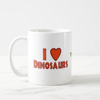 J'aime le rouge d'amant de dinosaure de dinosaures mug blanc