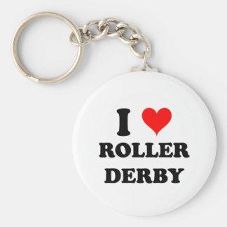 J'aime le rouleau Derby Porte-clé Rond