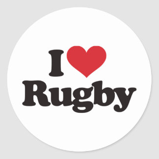 J'aime le rugby sticker rond