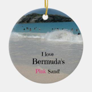 J'aime le sable rose des Bermudes ! Ornement Rond En Céramique