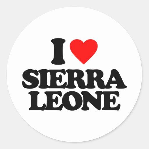 J'AIME LE SIERRA LEONE AUTOCOLLANT ROND