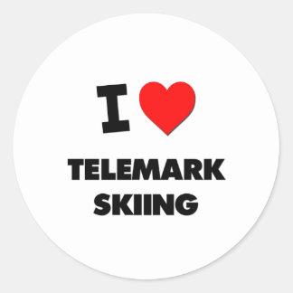 J'aime le ski de Telemark Sticker Rond