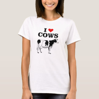 J'aime le T-shirt d'amusement de vaches