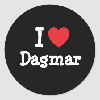 J'aime le T-shirt de coeur de Dagmar Adhésifs Ronds