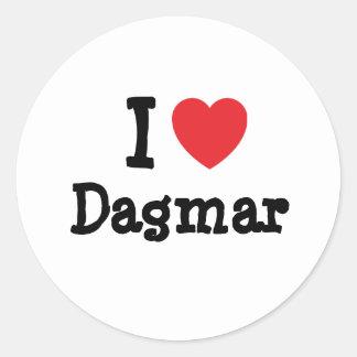 J'aime le T-shirt de coeur de Dagmar Adhésif Rond