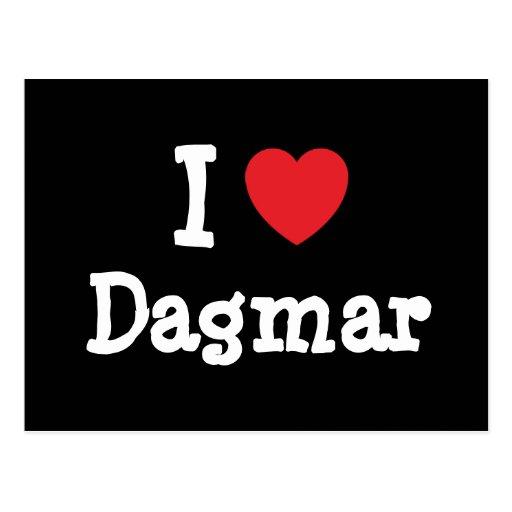 J'aime le T-shirt de coeur de Dagmar Carte Postale