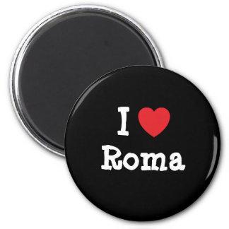 J'aime le T-shirt de coeur de Roma Magnet Rond 8 Cm
