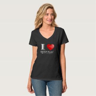 J'aime le T-shirt de cou de Jeu-v de groupe