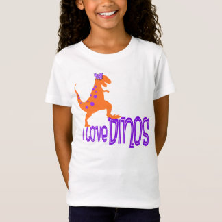 J'aime le T-shirt de Dinos - pourpre et orange