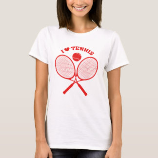 J'aime le T-shirt de tennis de raquettes croisé