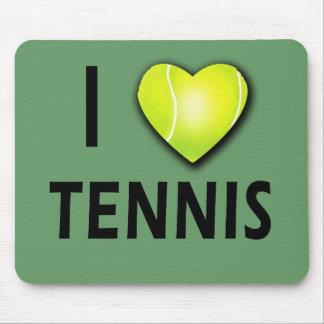J'aime le tennis avec le coeur de balle de tennis tapis de souris