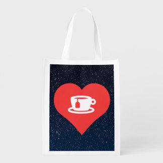 J'aime le thé chaud sacs d'épicerie