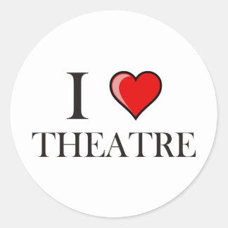 J'aime le théâtre sticker rond