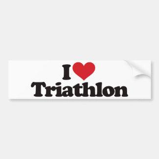 J'aime le triathlon autocollant de voiture