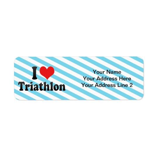 J'aime le triathlon étiquette d'adresse retour