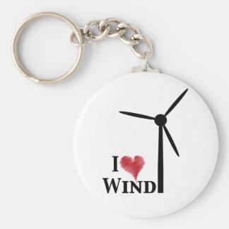 j'aime l'énergie éolienne porte-clé rond