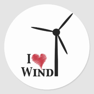 j'aime l'énergie éolienne sticker rond