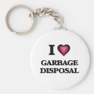 J'aime l'enlèvement des ordures porte-clé rond