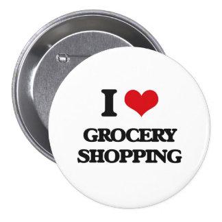 J'aime l'épicerie badge rond 7,6 cm