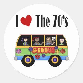 J'aime les années 70 sticker rond