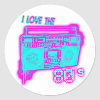 J'AIME les années 80 Sticker Rond