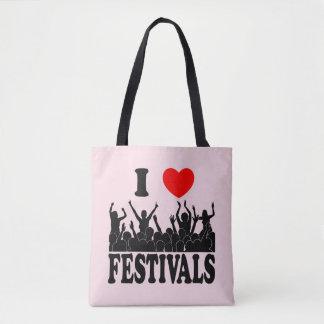 J'aime les festivals (le noir) tote bag