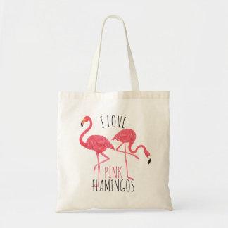 J'aime les flamants roses texte et l'illustration sac de toile