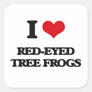 J'aime les grenouilles d'arbre aux yeux rouges autocollants carrés