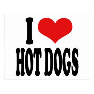J'aime les hot-dogs carte postale