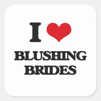 J'aime les jeunes mariées de rougissement sticker carré