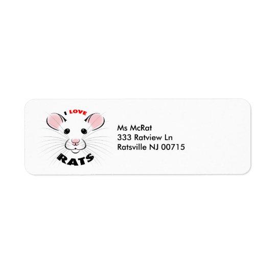 J'aime l'étiquette de adresse de rats des étiquette d'adresse retour