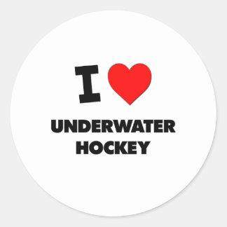 J'aime l'hockey sous-marin sticker rond