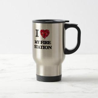 J'aime ma caserne de pompiers mug de voyage