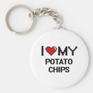 J'aime ma conception de Digitals de pommes chips Porte-clé Rond